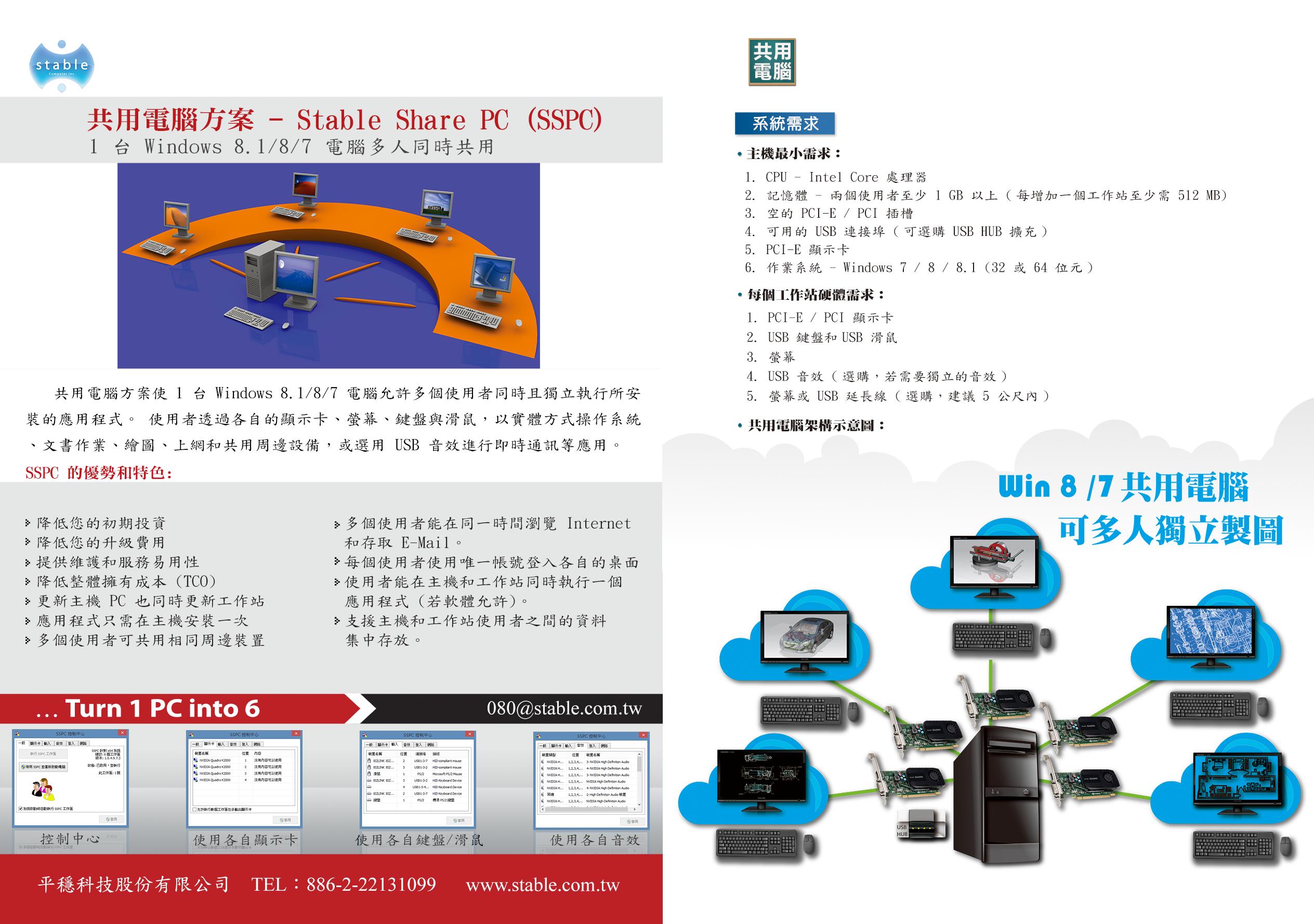 SSPC 共享电脑 1 变 6 电子型录 EDM